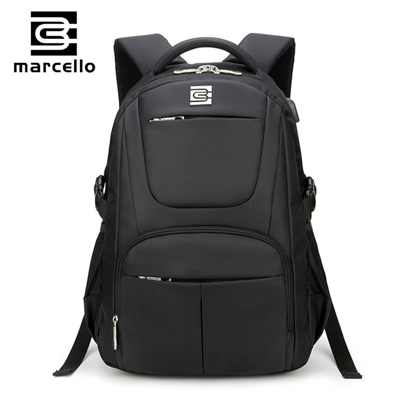 MARCELLO Laptop Backpack External USB Charge Computer Backpacks For Teenager Fashion Male Mochila Leisure Travel backpack men backpack student school bag for teenager boys large capacity trip backpacks laptop backpack for 15 inches mochila masculina