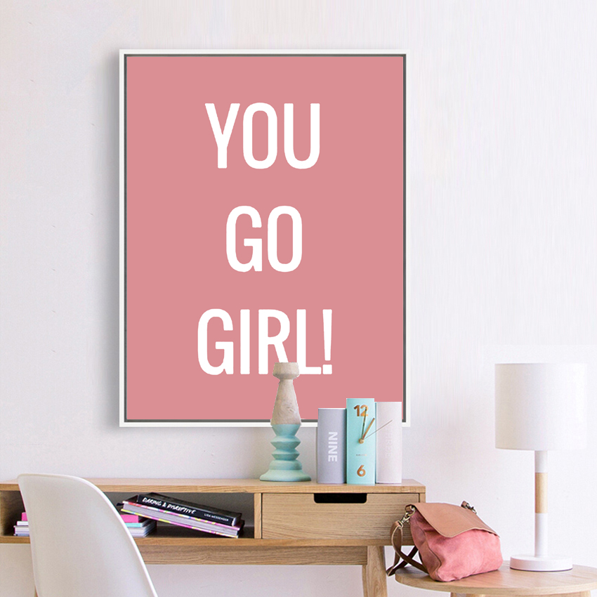 Buy You Go Girl Pink And White Minimalist