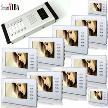 SmartYIBA 7″ Home Apartment Intercom Entry System For 10 Households Video Door Phone Doorbell IR Waterproof Outdoor Camera
