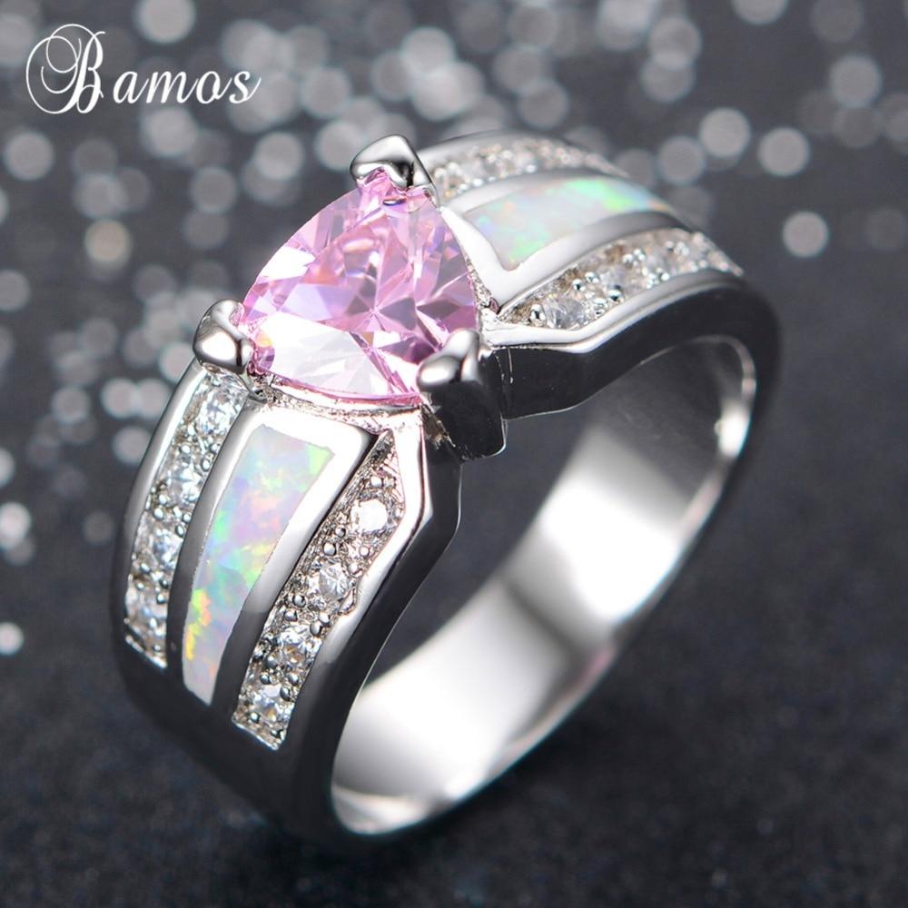 Бамос Розовый Цирконий Promise Ring модные белые Gold Filled Кольца для Для женщин Обручальные кольца уникальный камень ювелирные изделия