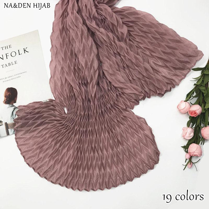 NEW plain maxi hijab pleated scarf wrinkle crinkle shawl scarves women fashion muslim scarfs fourland hijabs