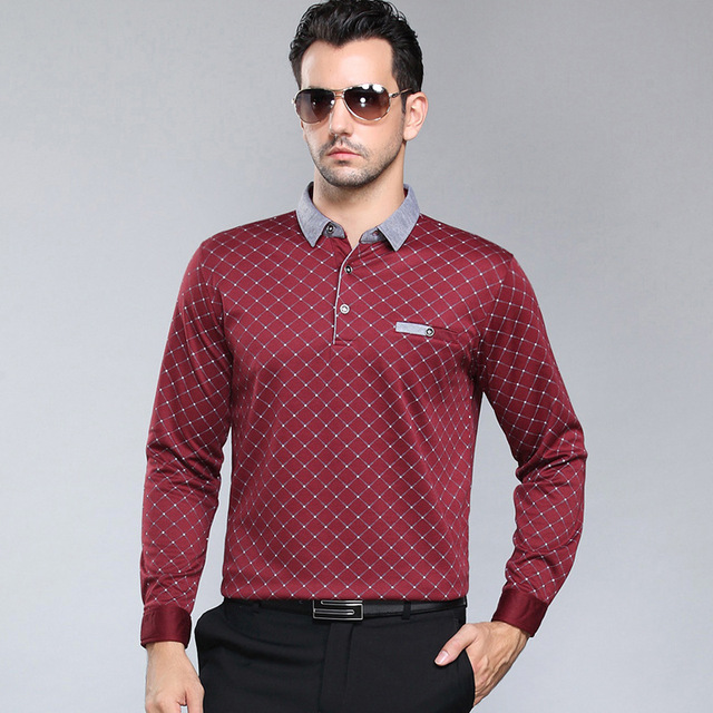 2016 new spring autumn polo homme high quality men breathable shirt business casual long sleeve shirts men cotton loose polo 3XL