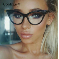 Coodaysuft Vintage Retro Cat Eye Women Sunglasses Fashion Transparent Lens Brand Designer Classic Sun Glasses Lady