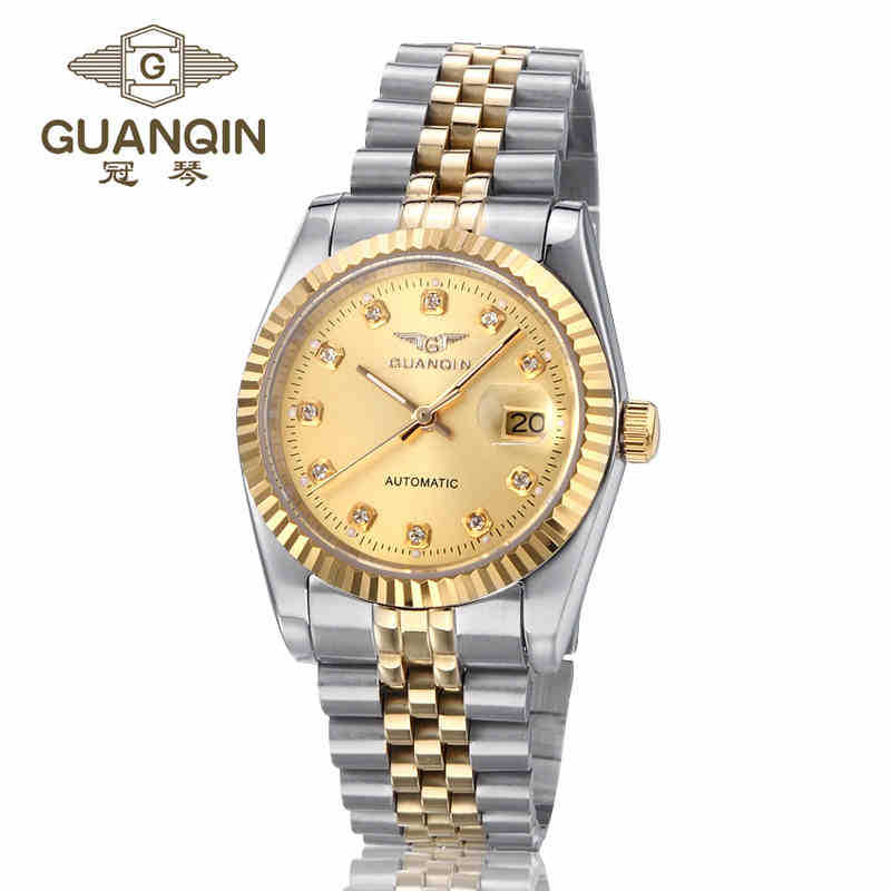 ФОТО GUANQIN Men Watches Authentic  Luxury Watch Hollow Mechanical Men Watch Stainless Steel Business Men Wristwatches for Men