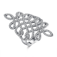 Fashion CZ Diamond Platinum Chinese Knot Elegant Jewelry Ringen Luxury Party Austrian Crystal Infinity Hollow New