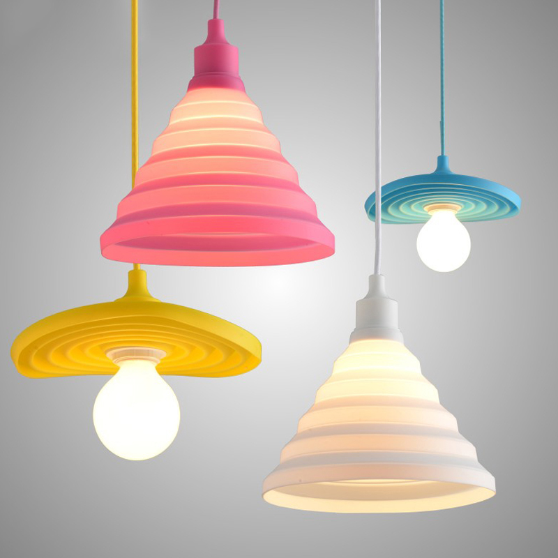 Modern colorful silicone pendant lights collapsible folding pendant lamps e27 creative fashion - Creative lamp shades ...