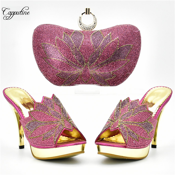 Amazing fuchsia pink thin high heel evening shoes and purse handbag set with stones for party XY07 heel height 10cm