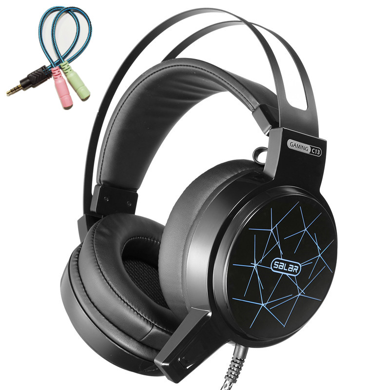 Salar C13 Gaming Headset Deep Bass Game Headphone mejor casque auriculares con micrófono luz LED para ordenador PC audifonos gamer