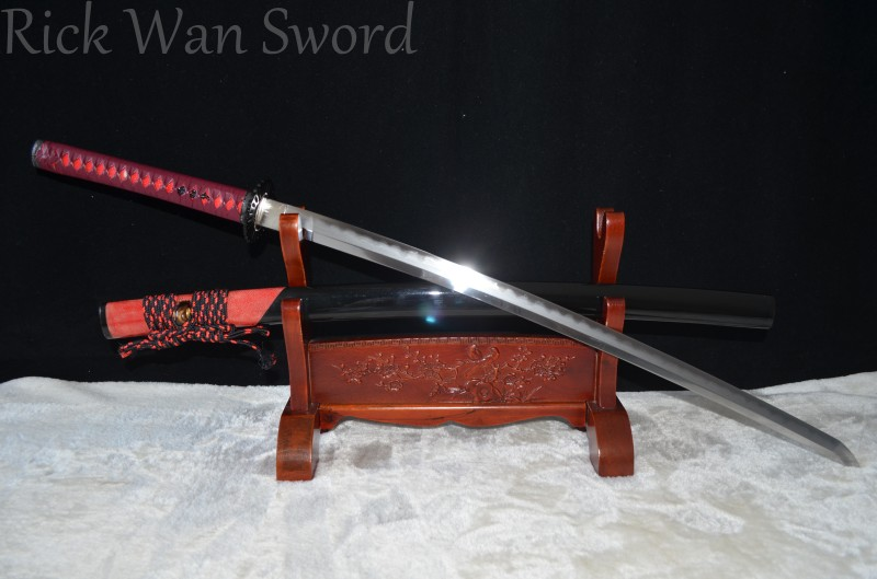 FULL TANG JAPANESE SAMURAI KATANA SWORD DAMASCUS STEEL CLAY TEMPERED HAZUYA POLISH BLADE REAL RAYSKIN WRAPPED SAYA REAL WEAPON