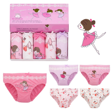 5 pcs 3-12T kids cotton panties Girls Panties infant cartoon printed child baby comics pants Bowknot briefs underwear set