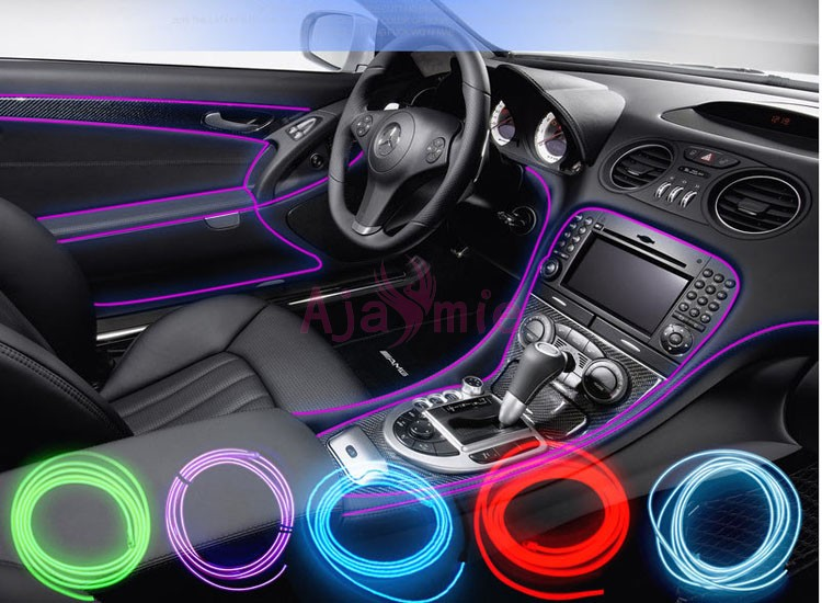 2 Meters Car Interior Decoration LED Strips Moulding Luminous Trims Dashboard Door Edge Cold Light Wire Styling Accessories in Interior Mouldings from Automobiles Motorcycles