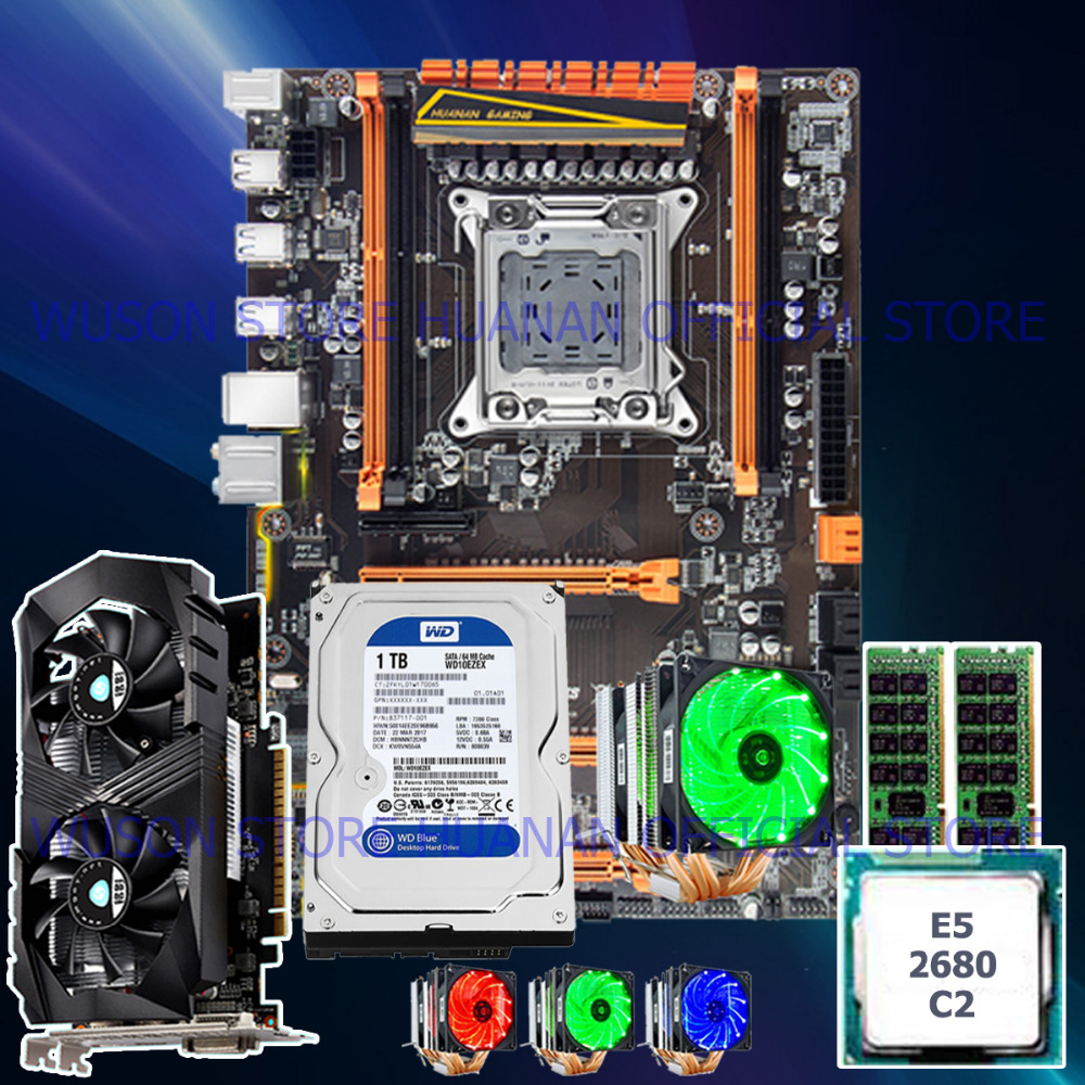 !!HUANAN deluxe X79 mainboard CPU E5 2680 C2 with 6 heatpipes cooler RAM 16G(2*8G) DDR3 RECC 1TB 3.5' SATA HDD GTX1050Ti 4GD5 VC huanan deluxe x79 mainboard cpu e5 2680 v2 with 6 heatpipes cooler ram 16g 2 8g ddr3 recc 1tb 3 5 sata hdd gtx750ti 2gd5 vc