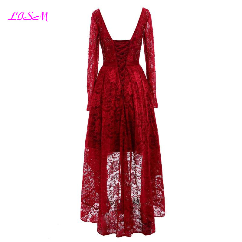 Vintage Red Lace Beaded Long Sleeves Prom Dresses Short Front Long Back Evening Dress Scoop Bow Sash Tulle Formal Party Gowns