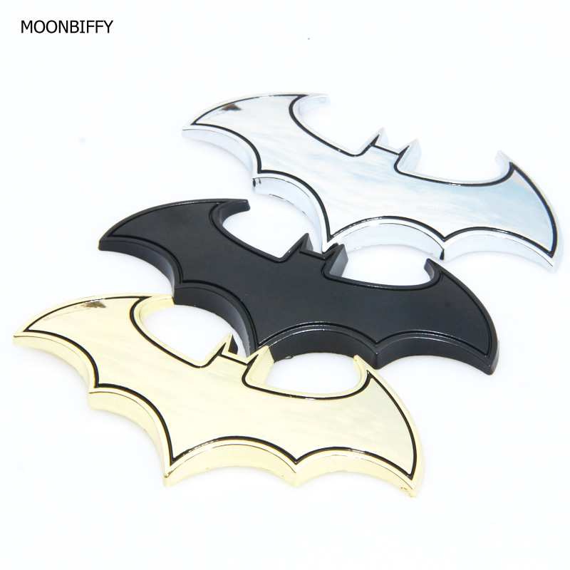 MOONBIFFY 3D Cool Metal bat auto logo car styling car stickers metal batman badge emblem tail