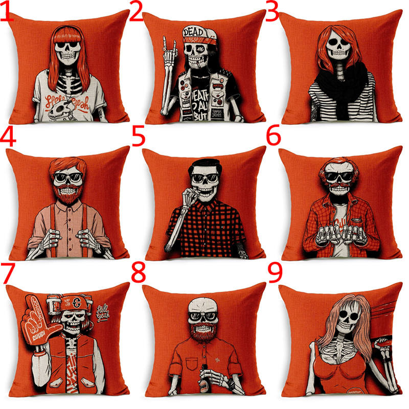 decoruhome stylish red skull linen square decorative pillow covers cushion cover sofa bed throw pillow case - Red Decorative Pillows