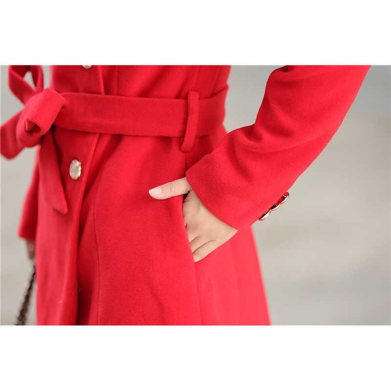 Новый Модный женский шерстяной плащ-манто Femme 2019, осенне-зимние длинные тонкие однобортные пальто для девочек из шерсти