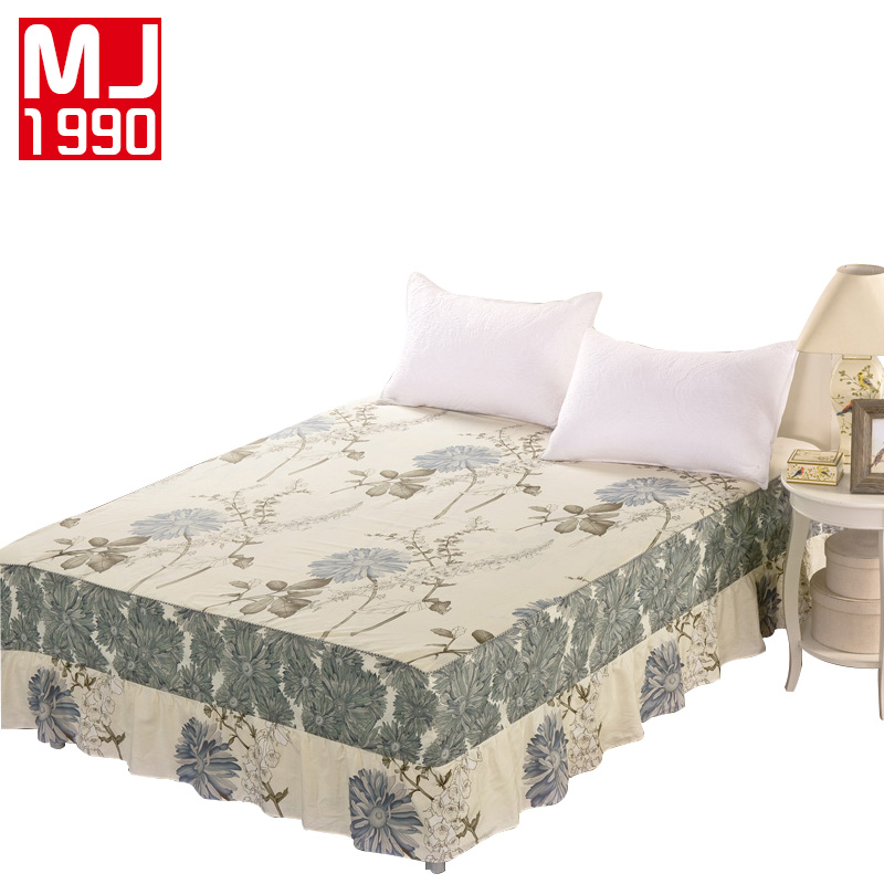 2018 Simple Style 100% Cotton Printed Plant Pattern Lace Bed Skirt Mattress Protection King Queen Size Bedding Set Free Shipping