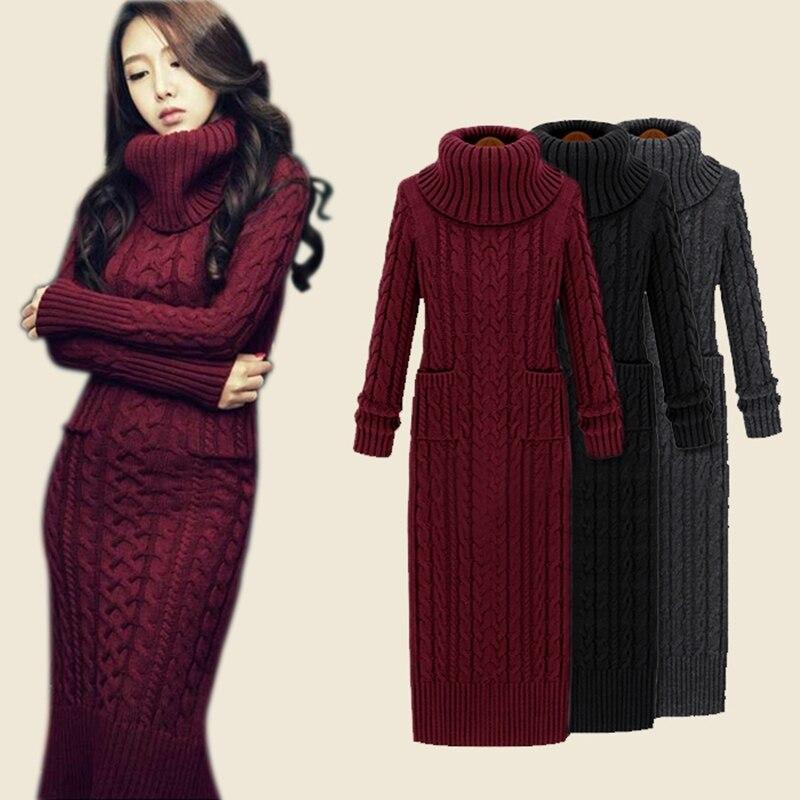 Womens Turtleneck Long Section Sweater dress Thick Slim Winter Retro Knit Dress womens Basic long dress women Winter dresses