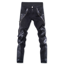 Fashion cool Mens punk rock jean pants with leather-based zipper Plus dimension 30 31 32 33 34 36 Patchwork Skinny tight