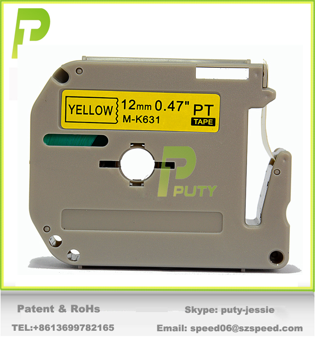 Compatible P touch M-K631 label tape 12mm Black on Yellow M tape for PT-55, PT-60, PT-65, PT-70, PT-75, PT-80, PT100, PT110 ...