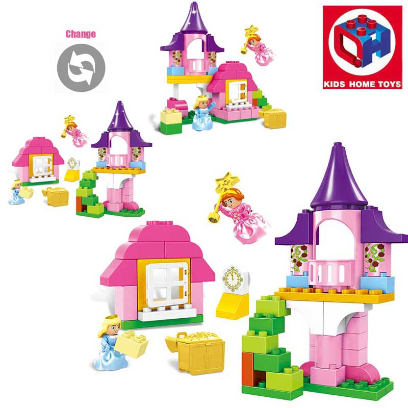 Oenux Happy Princess Angel Castle Model Large Particles Building Block Kids DIY Brick Toy For Girl's Gift Compatible With Duplo