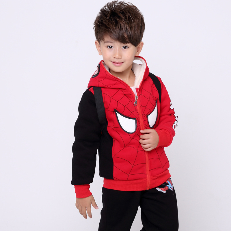 Winter Boys Sport Suit Long Sleeve Cartoon Children's Clothing Spider-Man Children Plus Velvet Sweater Two-piece Suit 3 -8 Years