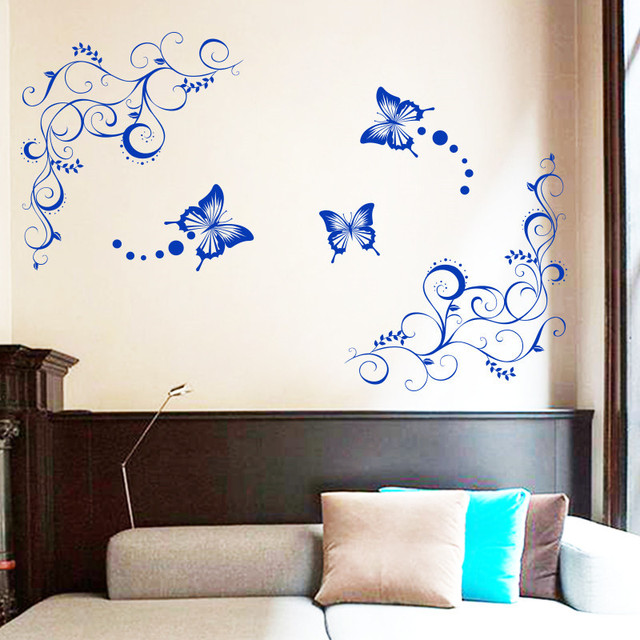 Art Decor Unique Design Home Decoration Large Pvc Flower And Butterfly Wall  Stickers Decals For Living