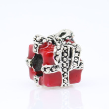1pc christmas gift plata de ley 925 red present big hole bead charms european style bracelet ENM 473