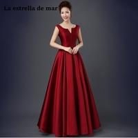 Vestidos de festa vestido longo para casamento new sexy V neck satin a Line purple champagne black burgundy bridesmaid dresses