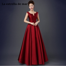 Vestidos para bodas elegantes largos 새 새틴 섹시한 V 넥 ALine burgundy 자주색 샴페인 들러리 드레스 bruidsmeisjes jur