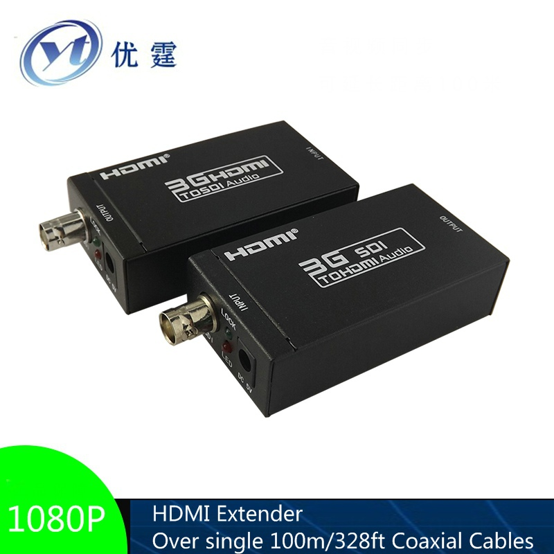 HDMI Extender Over single 100m/328ft Coaxial Cables 1080P hdmi to sdi 3G hdmi to bnc cables RG-6 TO HD hsv379 sdi hdmi extender with lossless and no latency time over coaxial cable up to 200 meters support 1080p hdmi extender