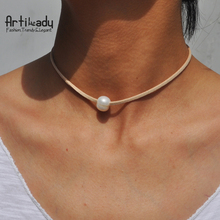 Artilady genuine pearl choker necklace velet freshwater pearl necklace for women jewelry Idear Gifts for Sisters and Friends