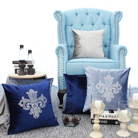 Home Decorative Sofa Throw Pillows Crown Court Embroidered Flannel Cushion Cover Embroidered Pillow Case pillow