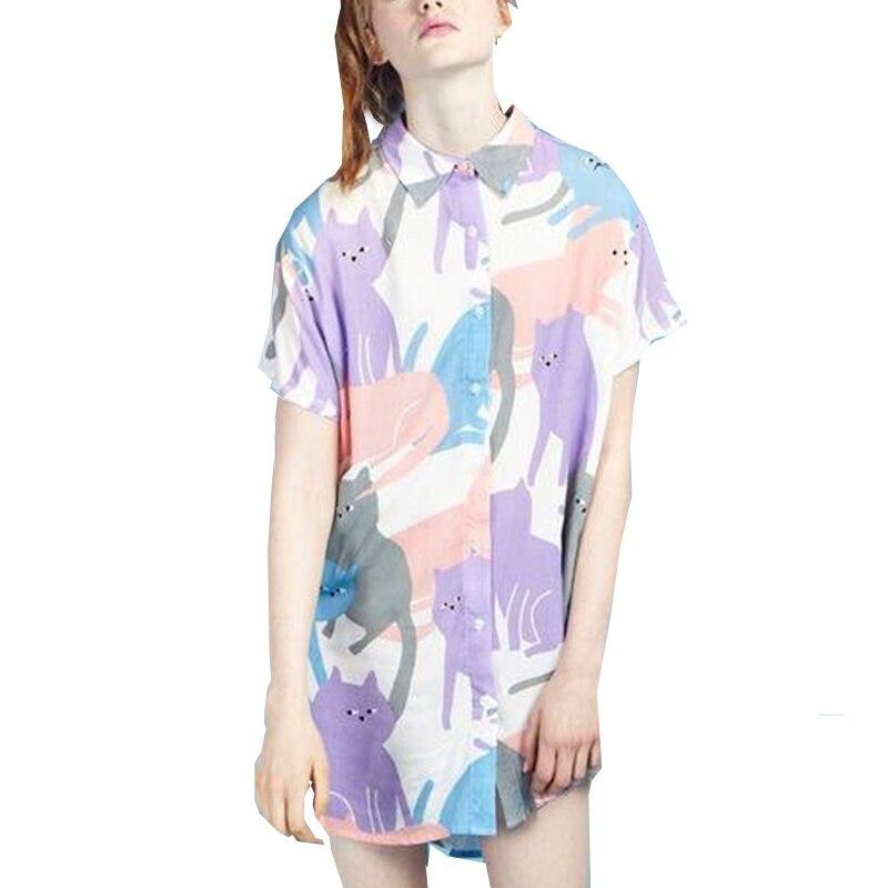 Women funny multicolor cat pattern shirt short sleeve for Peter pan shirt pattern
