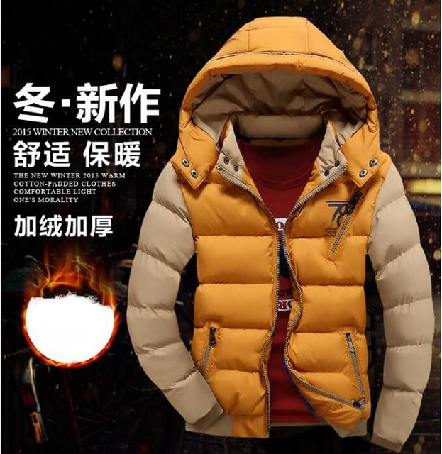 7fe0bcd36 US $30.35 8% OFF|free shipping 2016 hot Mens Jacket Brave Soul Coat Hooded  Padded Quilted Fashion Style Two Tone Casual Lined Winter coat-in Parkas ...