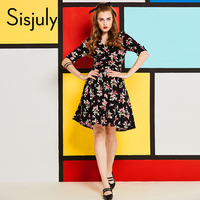 Sisjuly Vintage Dress Womenautumn Black Printed Knee Length A Line Dress V Neck Zipper Half Sleeve