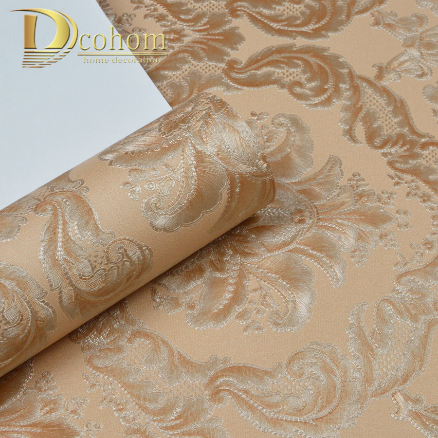 Dcohom luxury European Style PVC 3D Wallpaper For Bedroom Living Room Sofa Walls Decor Embossed Striped Damask Wall Paper Rolls high quality modern geometry striped wallpaper for walls 3d embossed living room sofa tv background home wall paper rolls