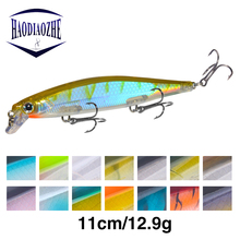 HAODIAOZHE 1Pcs 110mm 12.9g Laser Minnow Fishing Lure Pesca Hooks Slowly Sinking Wobblers Bass Pike Hard Bait Crankbaits YU433 ilure osprey minnow fishing bait multi section slowly sinking lure with hooks