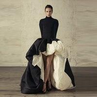 New Design Black White Joint Skirts Women Custom Made Floor Length Long Maxi Skirt Puffy Asymmetrical High Low Skirt