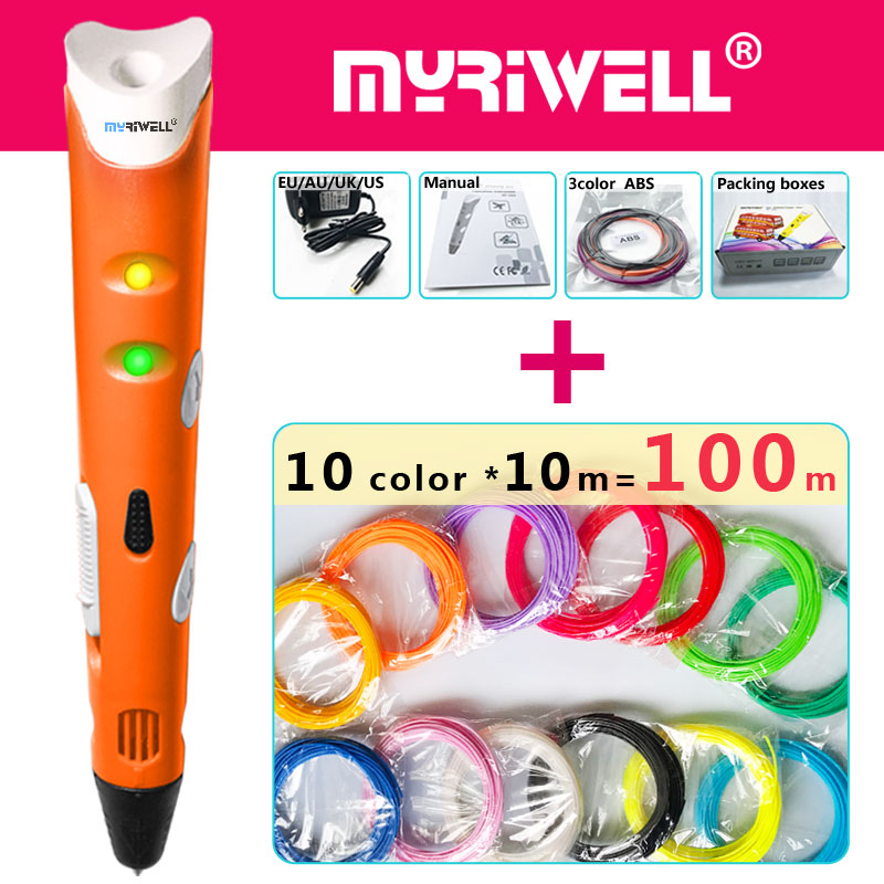 myriwell 3d pen 3d pens,1.75mmABS/PLA Filament,3 d pen3d model,Creative3d printing pen,Best Gift for Kids DIY creative,pen-3d new model 3d printer pen drawing 3 d pen with 100 meters 10 color pla filaments printing pens for kid best diy gift