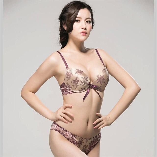 e9e639890b54e Luxury Bowknot Chinese Bra And Panty Set Embroidery Underwear Double Push  Up Lingerie Femme Glaze Golden Silver Elegant Style