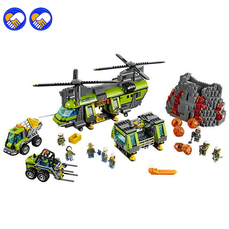 A toy A dream 10642 Bela City Series Volcano Heavy-lift Helicopter Explorer scientist Building Block Bricks Toys Gift For 60125 a toy a dream lepin 24027 city series 3 in 1 building series american style house villa building blocks 4956 brick toys