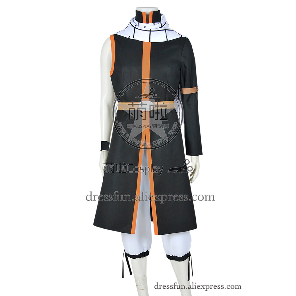 Fairy Tail Season 1 Cosplay Natsu Dragneel Costume Uniform Whole Set Outfit New