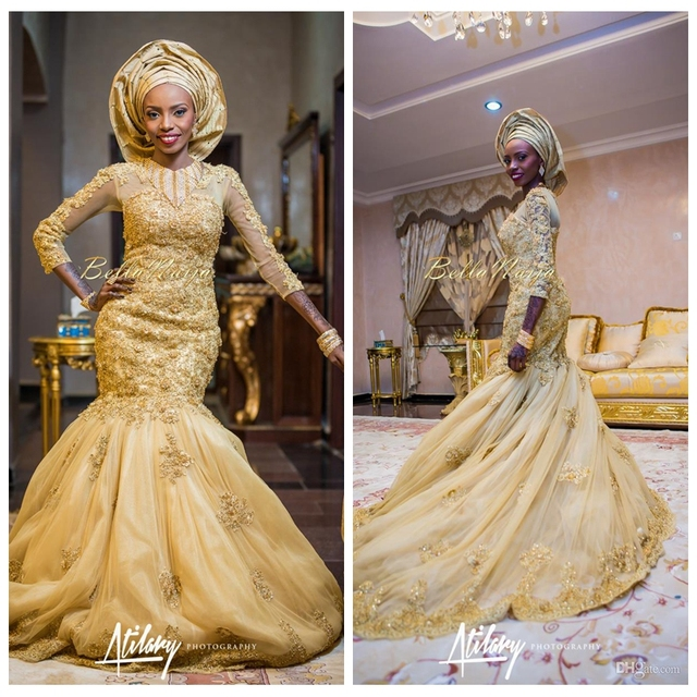 Gold African Traditional Lace Wedding Gowns Beaded Scoop Beaded Lace ...