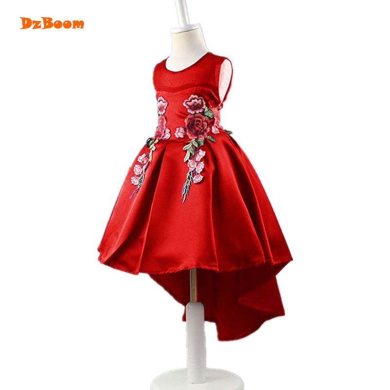 DzBoom Fashion Embroidery Elegant Kids Dresses For Girls 2017 New High Waist Princess Sleeveless Vestidos Summer Girl Vest Dress 2017 summer girls vest dresses cute sequined kids sleeveless dresses for girls new 1 7t princess dress fit little child