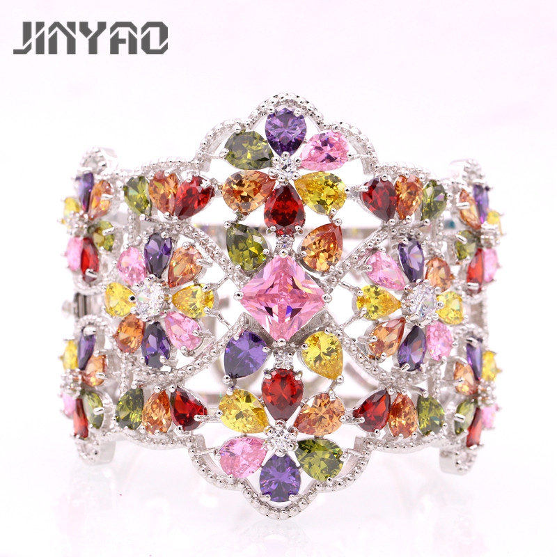JINYAO Gorgeous White Gold Color Crystal Charm Multicolor AAA Zirconia Women Wrist Bangle Bracelet For Women