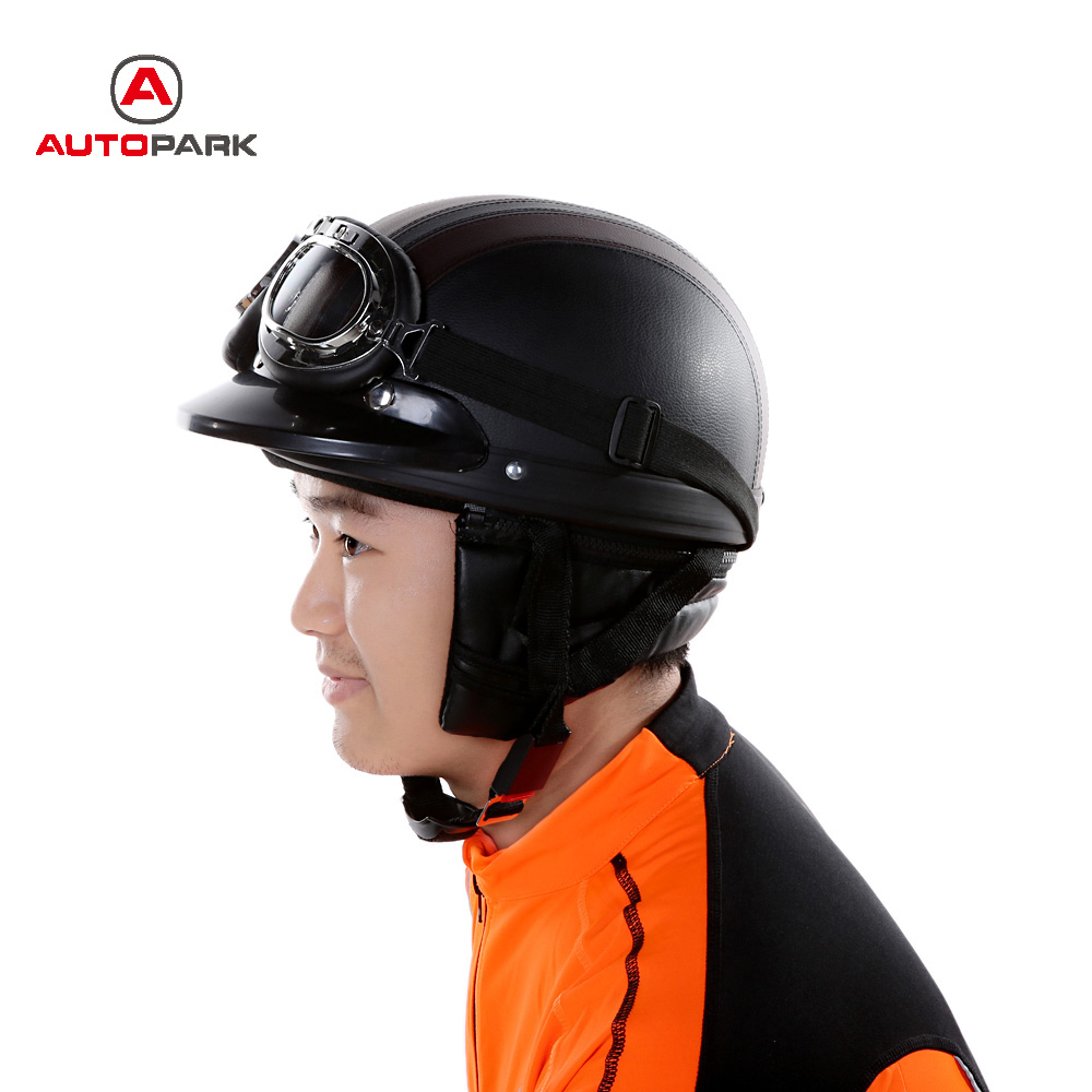 Motorcycle Scooter Open Face Half Leather Helmet with ...