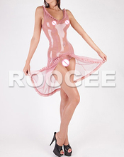 Sexy vest ruffle latex dress in trasparent pink