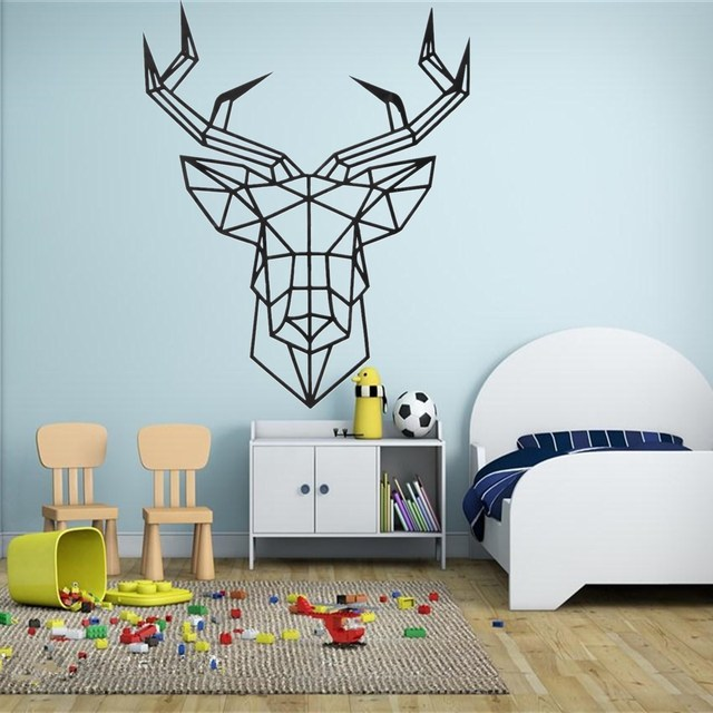 Wall Sticker Deer Head Geometry Black Deer Design Geometric Animal - Custom vinyl wall decals deer