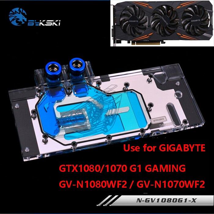 BYKSKI Full Cover Graphics Card Water Block use for GIGABYTE GTX1080/1070-G1-GAMING GV-N1080WF2/GTX1080-D5X-8G Radiator RGB